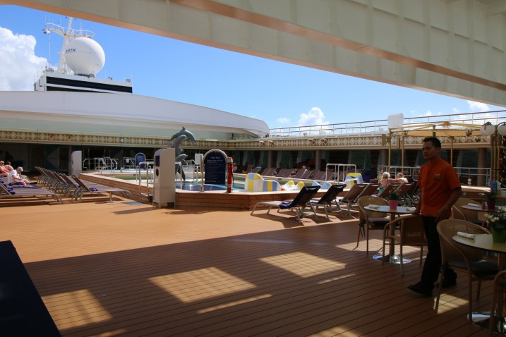The Lido Deck pool with its retractible roof.