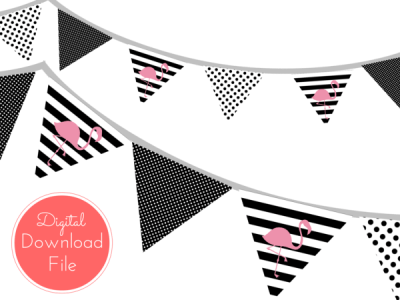 Pink Flamingo Banner in Black