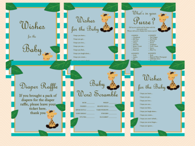 giraffe baby shower games