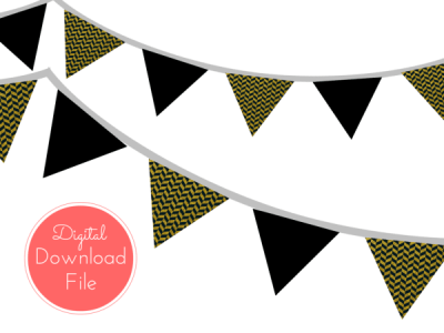Gold and Black Banner, Bunting, Pennant, Garland
