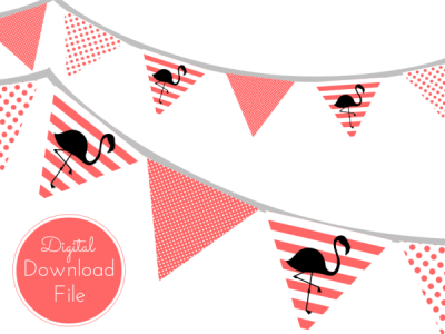 Peach Flamingo Banner