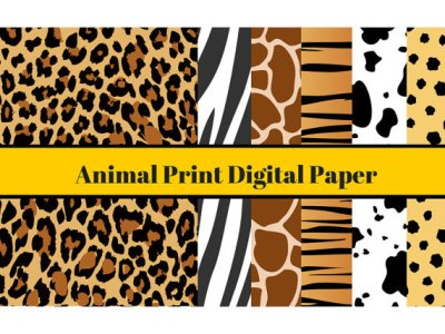A4 Animal Digital Paper, Animal Print Digital Paper, Jungle Theme Cardmaking, Scrapbooking, Animal Print Background, Cheetah, Zebra Prints