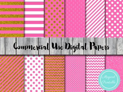 HOT PINK AND GOLD GLITTER DIGITAL PAPERS