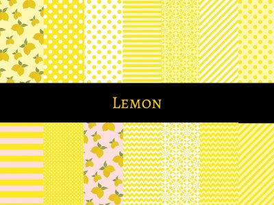 Lemon Paper Pack, Yellow Digital Paper, Lemon Digital Paper Collection, Lemon Pattern, Lemon Background, Lemon Scrapbooking