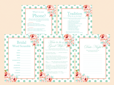 Mint-and-Peach-Bridal-Shower-Games-Mint-and-Coral-Floral-Unique-Bridal-Shower-Games-Bachelorette-Games-Wedding-Shower-Games-BS33