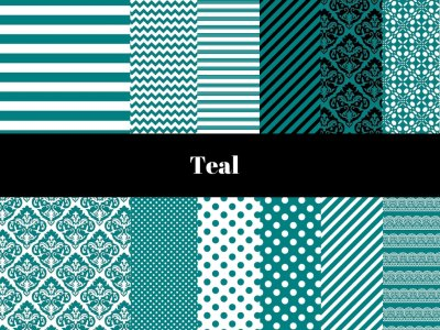Teal Digital Paper, Teal Digital Background, Teal Damask, Teal Black, Teal White, Teal Color Digital Paper, Teal Paper Collection