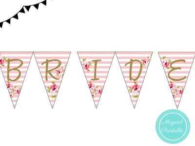 Pink Stripes Bridal Shower Pennant, Wedding Shower Bunting PNN01, BS11