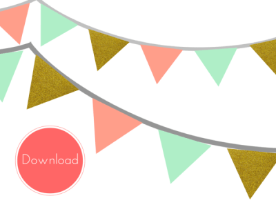 cover_bunting_printable_banner Mint, Coral, Gold Banner, Bunting, Pennant