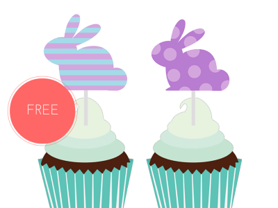 free printable easter bunny garlands and cupcake toppers and labels
