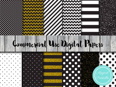 gold glitter and black digital papers, instant download