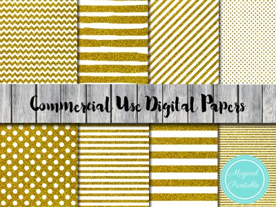 gold glitter digital papers, gold stripes digital papers, gold dots