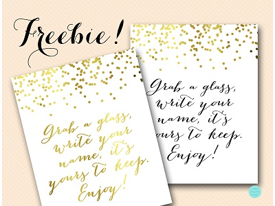 grab-a-glass-yours-to-keep-sign-gold-bridal-shower-decor