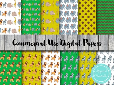 jungle animals digital paper, safari digital paper, zoo animals dp41