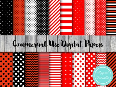 ladybug digital papers, minnie mouse digital papers, ladybug scrapbook, red minnie mouse dp24