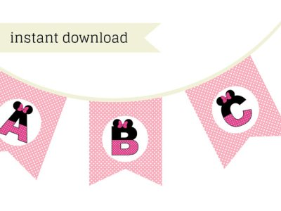 Pink Minnie Mouse Banner