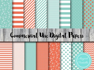mint and coral nautical digital papers, mint and coral scrapbook papers dp27