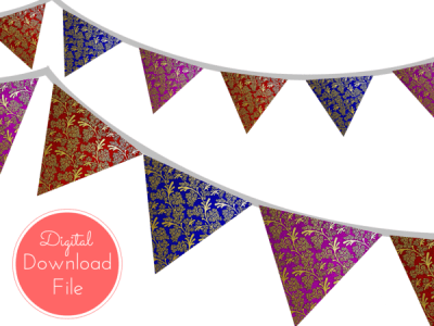 pennant-Moroccan-Damask-Banner-Bunting-Pennant-Garland-Printable-Banner-Baby-Shower-Banner-Birthday-Party-Bridal-Shower-Wedding-banner-purple-red-blue