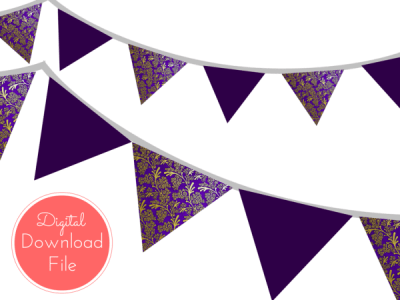 pennant-Purple-Damask-Banner-Bunting-Pennant-Garland-Printable-Banner-Baby-Shower-Banner-Birthday-Party-Bridal-Shower-Wedding-banner