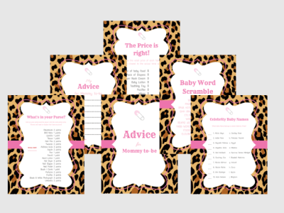 pink Leopard Baby Shower Games – Girl