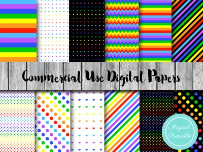 rainbow digital papers, colorful digital papers, hot air balloon digital papers DP29