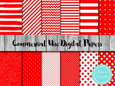 red love digital papers, red chevron, red polka dots, red stripes