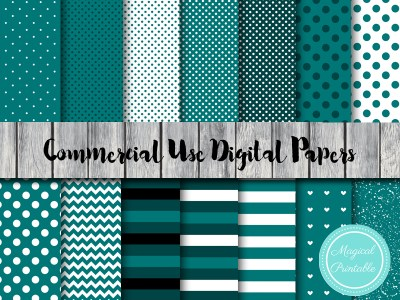 teal digital papers, teal stripes, teal dots