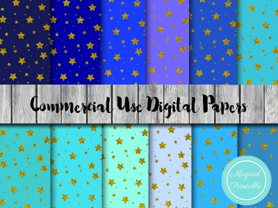 twinkle twinkle little stars digital papers, gold stars digital papers