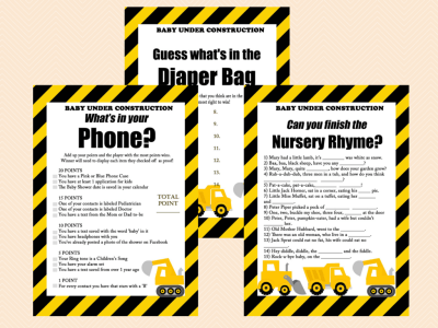 construction baby shower game printables, instant download, baby under construction