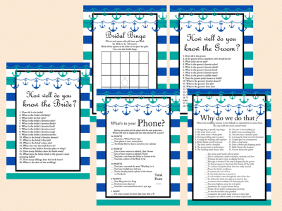 teal, blue, white stripes nautical bridal shower games, printable, anchor