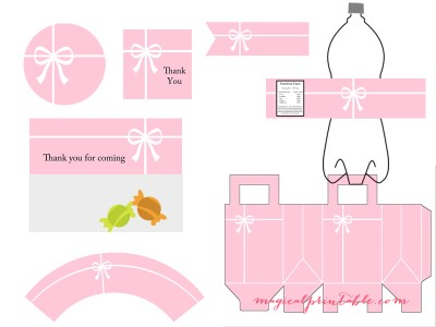 tiffany pink party printable, tiffany pink baby shower printable, tiffany pink bridal shower package
