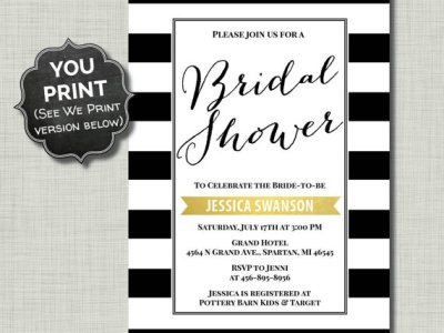 Black White Bridal Shower Invitation Gold