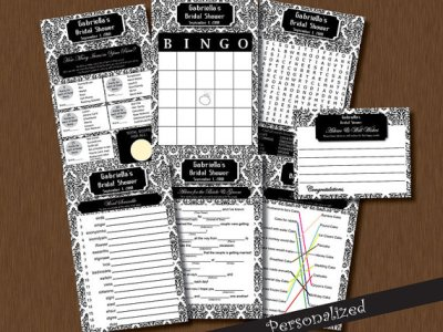 Bridal Shower Games & Bride Advice Card Bingo, word search, Fill in Blank Black and White Damask