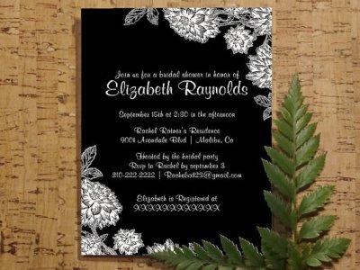 Elegant Black White Bridal Invitations, Bridal Shower Invitation