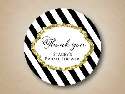 Gold Glitter Bridal Shower Stickers