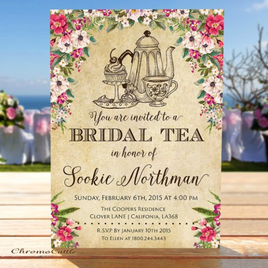 Vintage Bridal Shower Invitation, Bridal Tea, Vintage Floral Bridal Shower