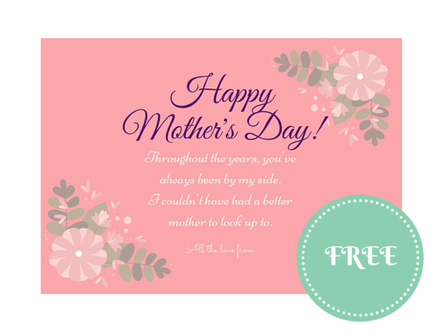 free happy mothers day card note