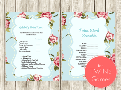Shabby Chic Twins Baby Shower Games