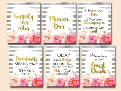 black stripes, watercolor, peonies, flower, gold, wedding signs, decoration signs, happily ever after, cards and gifts