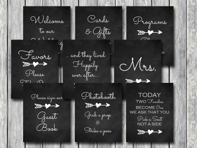 chalkboard-wedding-signage-arrow-tribal