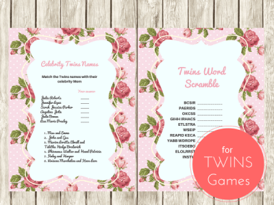 ink Shabby Chic Vintage Rose Twins Baby Shower