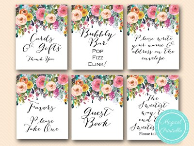 sn34 bs138 painted hand drawn floral decoration signs, wedding signages, bridal shower signs