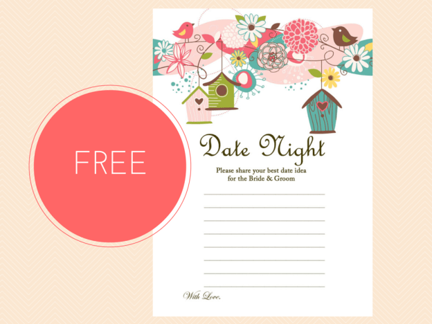 FREE printable date night ideas for bride and groom