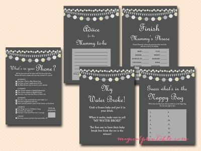 Gray Rustic Baby Shower Game Printables, instant download, light strings, game package