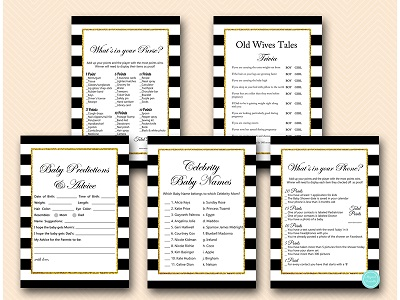 black-gold-baby-shower-games-package-printable-instant-download-tlc135