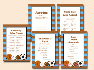 blue and brown all stars baby shower games, printable games, tlc96, instant download, baseball, basketball, football