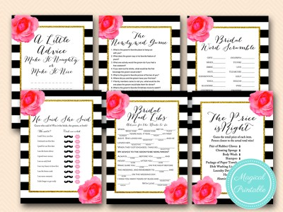 bs158 shabby chic black stripes floral bridal shower games pack download