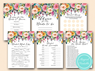 floral watercolor bridal shower game package bs138