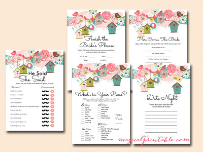 love birds bridal shower games, game pack, instant download, whimsical bridal shower games, birdcages, bs83