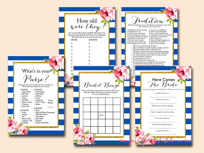 navy blue bridal shower game package, instant download, navy stripes, blue stripes, bs93, chic, floral