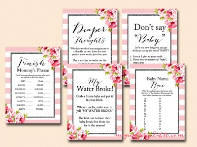 pink stripes, floral, black sparkle, black glitter baby shower games, instant download, tlc83, elegant, chic